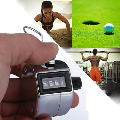 4 DIGIT Clicker Silver Stainless Metal Number Lap Golf Hand Tally Click Counter