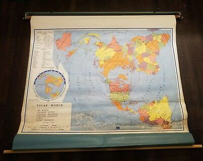 Vintage Nystrom Pull Down Polar World Map Home School Classroom Map