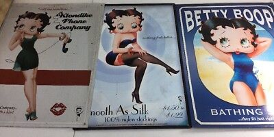 Lot 3 Betty Boop Metal Signs