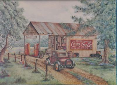 Martin's Garage COCA COLA CARDBOARD PRINT Gas Station Model A - Kay Lamb Shannon