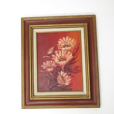 Vtg Mid Century Modern Abstract Floral Flowers Still Life Oil Painting Gold Red