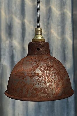 Rusty Steel Vintage Style Barn Lamp Workshop Ceiling Light Shade Rsp4G3