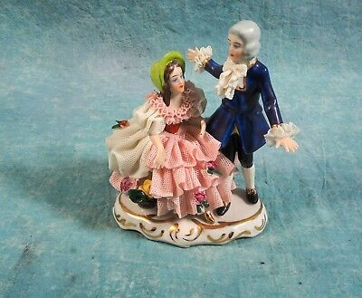 Vintage Sandizell Hoffner Dresden Lace Figurine Germany Man Courting Woman