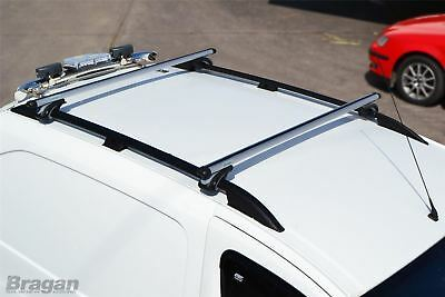 To Fit 02-14 Ford Transit Tourneo Connect LWB Black Roof Rail + Silver Cross Bar