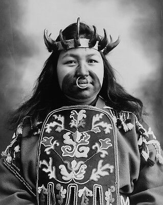 New 8x10 Native American Photo: Thlinget Indian Woman in Potlatch Dance Costume