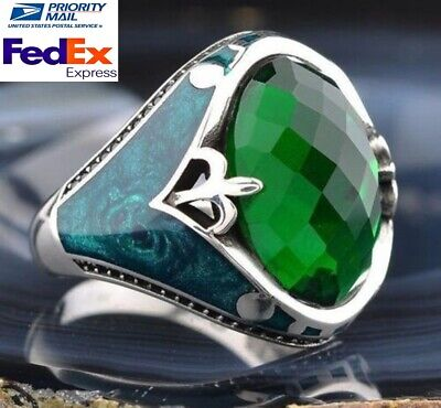 Turkish jewelry 925 Sterling Silver green emerald stone Mens ring us ALL SİZE