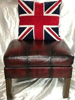 Handmade Traditional Rich Oxblood Red Leather Chesterfield Style Footstool