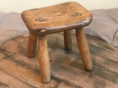 Victorian Pine & Hardwood Rustic Stool Carved Legs Folk Art Country Style
