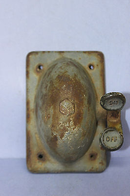 Vintage Crouse Hinds Cast Iron Switch Cover - On/Off