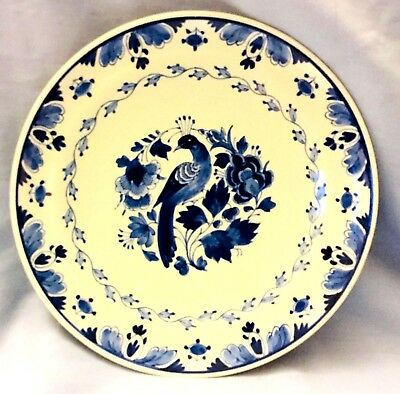 Vintage 1926 Delft Peacock Wall Plate  * Hand Painted & Signed & Numbered