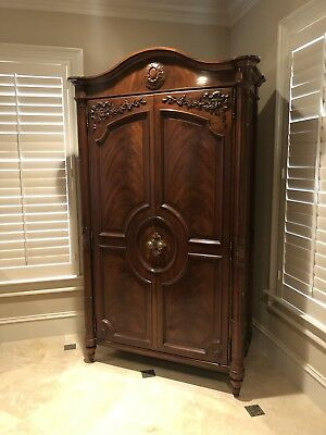 KARGES Model 314 Louis XVI Flame Mahogany Armoire Entertainment Cabinet Option
