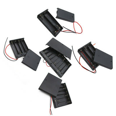AA 1.5V Battery Holder Connector Storage Case Box ON/OFF Switch W Lead Wire 2PCS
