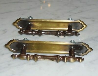 """2 Amerock 2-Tone Brass Cabinet Drawer Pull Handles & Back Plates """"RD 1972 Can A"""""""