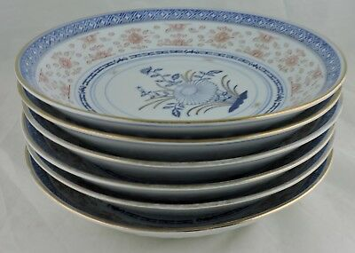 Chinese Rice Grain Pattern Soup Plate/shallow Bowl Set 5,blue Lotus Flower,gold
