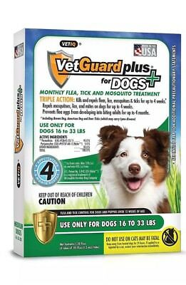 VetGuard Plus Flea & Tick 4 month supply-Medium Dogs 16-33 lbs. Free Shipping!