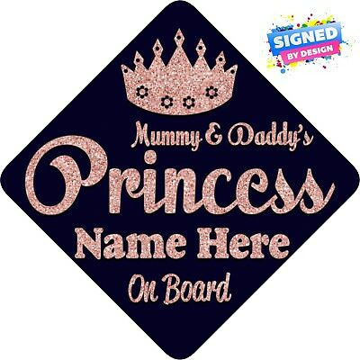 Mummy & Daddy's Princess Baby On Board Car Sign ~ Rose Gold Glitter Effect ~ Per