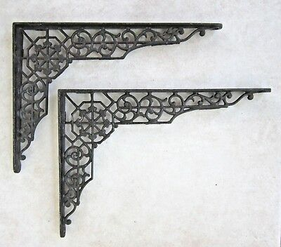 "Vintage Pair 12"" x 9"" Black Cast Iron Ornate Shelf Brackets Door Arch Decorative"