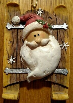 """3.75"""" Santa Claus Sled Christmas Tree Ornament pottery or clay style"""
