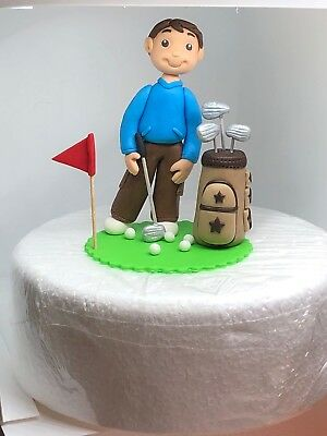 Edible cake toppers Playing Golf Dad Man Husband Hobby Sport Birthday Decoration