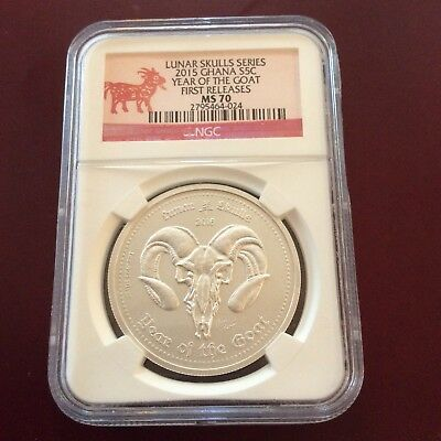 2015 Lunar Skull Series Year Of The Goat.1 OzSilver MS 70First Release.#265/2000