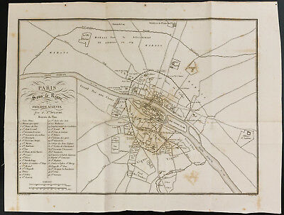 1828 - Plan antique de Paris under the reign of Philippe Auguste - Merit