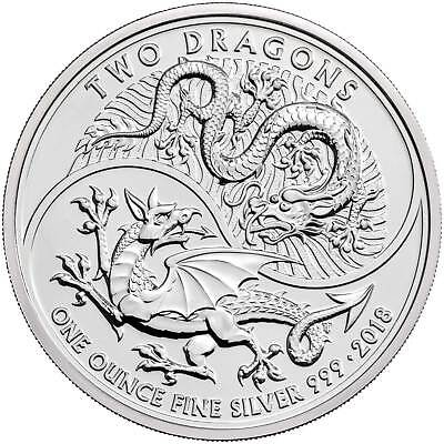 2018 Two Dragons 1 oz .999 Silver Coin by UK Royal Mint Capsuled BU Brand New