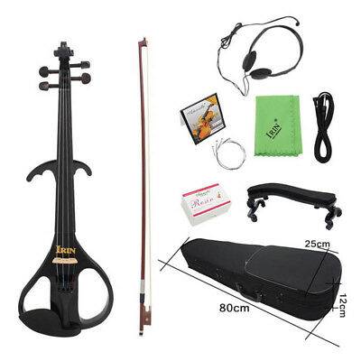 60*20*5 cm Electric Violin Pine Fitted Black Style+Violin Box+Bow for Beginner