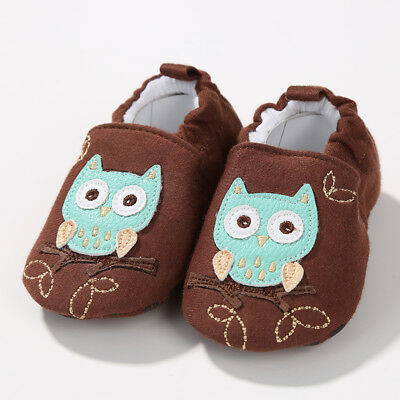NEW Baby Boy Girl Owl Brown First Walker Soft Sole Baby Crib Shoes Slippers