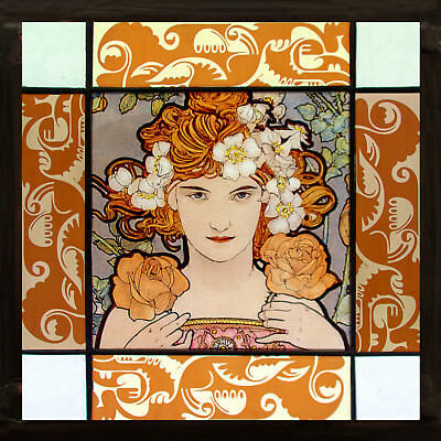 Mucha stained glass, kilnfired, Mucha suncatcher, art nouveau glass, Mucha art