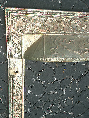 Antique Ornate Raised Relief Gold Tone Metal Fireplace Surround Grate