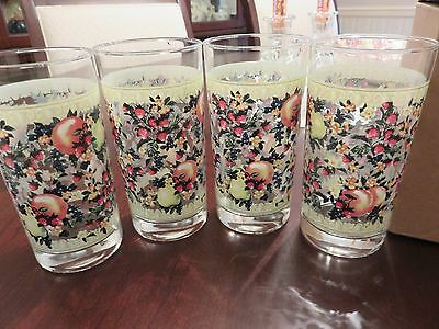 "Set of 4 Avon 2003 Sweet Country Harvest 5.5"" Glass Tumblers 12 oz w/Box Unused"