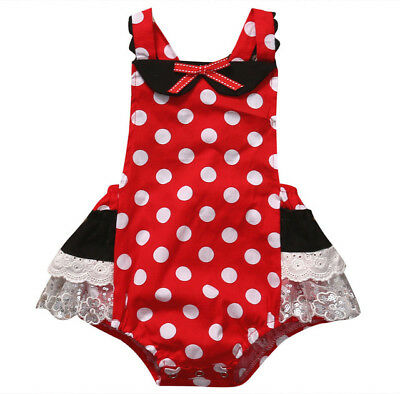 25e875028074 NEW Minnie Mouse Baby Girls Red Polka Dot Ruffle Lace Romper Sunsuit  Jumpsuit