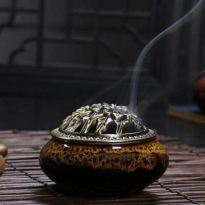 Ceramic Incense Burner Holder Joss Stick Cones Coil Ash Catcher Bowl Tray