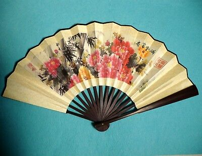 Asian Traditional Bamboo Fan with PEONY Blossom Large Wall Decor Folding Fan New