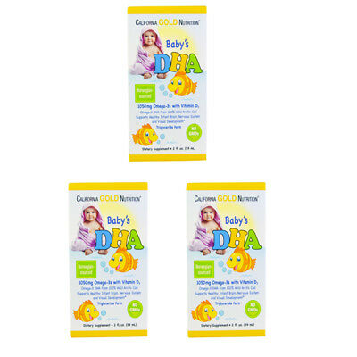 3X CALIFORNIA GOLD NUTRITION BABY DHA 1050mg OMEGA-3s WITH VITAMIN D3 BODY CARE