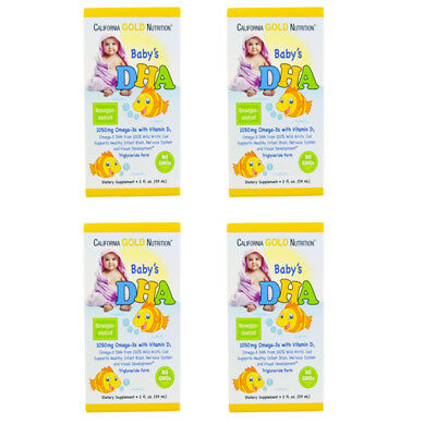4X CALIFORNIA GOLD NUTRITION BABY DHA 1050mg OMEGA-3s WITH VITAMIN D3 BODY CARE