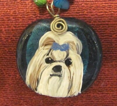 Shih Tzu hand painte don blue, round glass pendant/bead/necklace