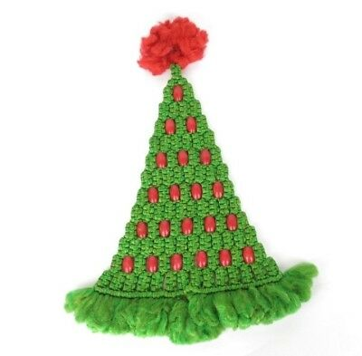 "Vintage 25"" Macrame Christmas Tree Wall Hanging with Red Wood Beads Mod"