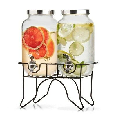 3.5L Beverage Stand Soda Water Party Wedding Cold Dual Glass Drink Dispenser