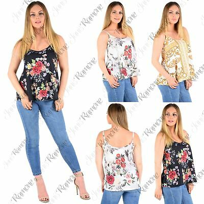 New Womens Floral Print Sleeveless Strappy Camisole Flared Summer Vest Cami Top