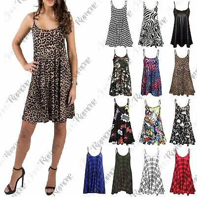 New Womens Printed Flared Strappy Long Camisole Swing Mini Dress Cami Vest Top
