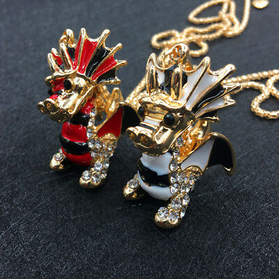 Gold Plated Rhinestone Enamel Lovely 3D Dragon Pendant Chain Sweater Necklace