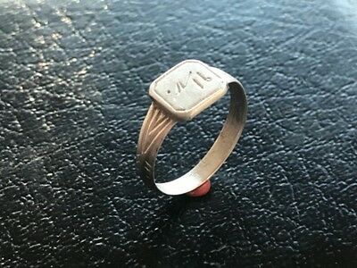 "Silver ring 19th century. Engraving ""Inscription"". Excellent. Rare. Original!!!"