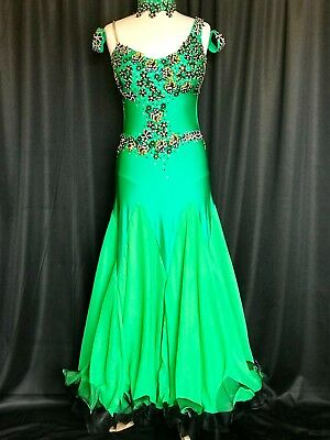 Je Bling Green/Blk Ballroom Smooth Competition Costume Ladies US 10-14 Swarovski