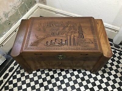 Camphor Wood Chest - Chinese / Oriental / Hand Carved