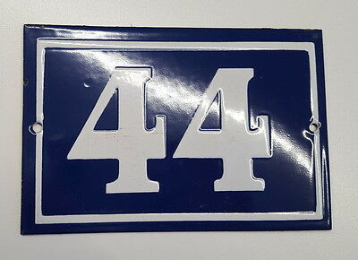 OLD FRENCH HOUSE NUMBER SIGN door gate PLATE PLAQUE Enamel steel metal 44 Blue