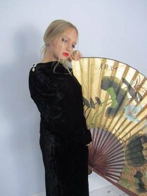 Antique vintage 1930's long black velvet dress Hollywood Glamour medium art deco