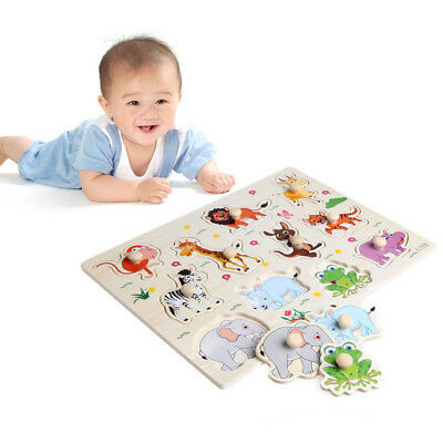 AU_ Wooden Peg Puzzle Baby Children Animals Educational Early Learning Toy Dazzl