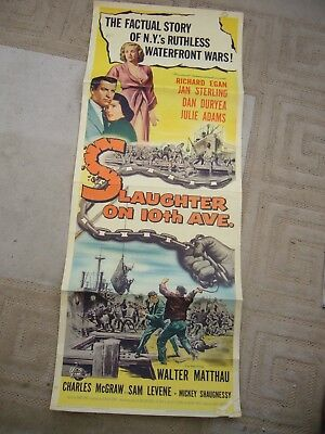 Original 1957 US Insert Movie Poster - Slaughter on Tenth Avenue