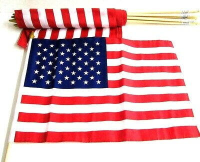 Lot of 12 American Flags 12 x 18 On Sticks Grave Markers USA NEW